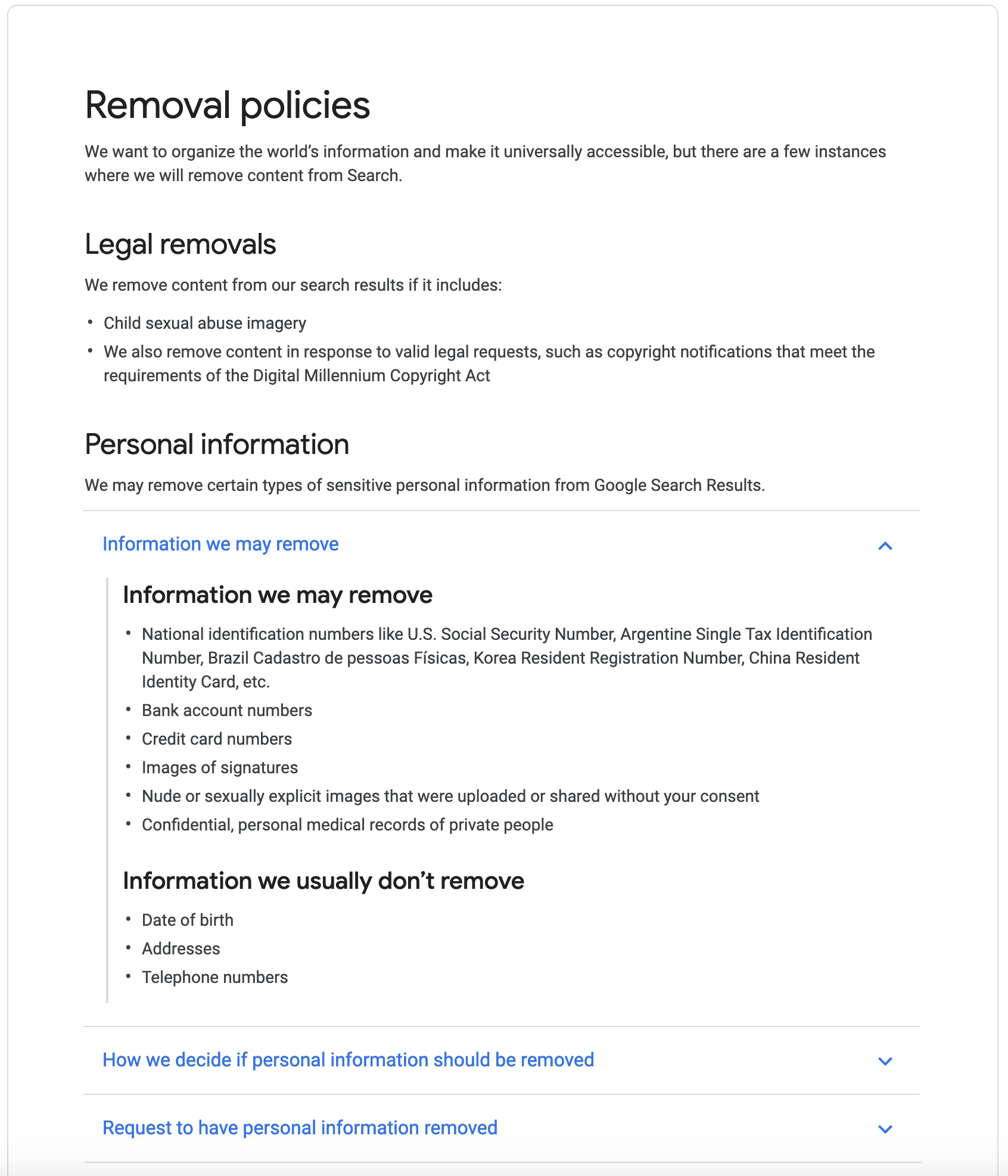 Information Google may remove